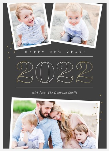 Champagne Bubbles Holiday Photo Cards