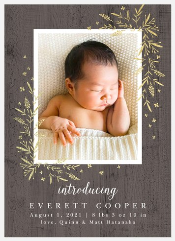 Shimmering Woodland Baby Birth Announcements