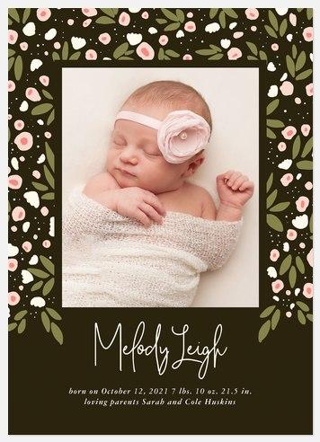 Garden Splendor Baby Birth Announcements