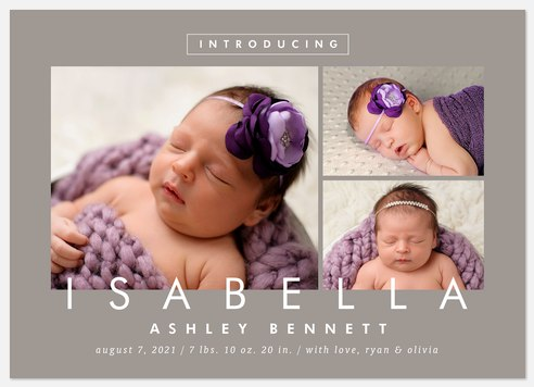 First Introductions Baby Birth Announcements