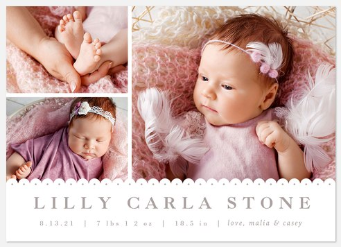 Sweet Embellishment Baby Birth Announcements