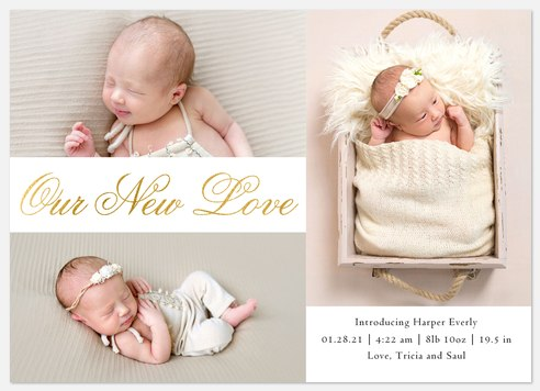 Our New Love Baby Birth Announcements