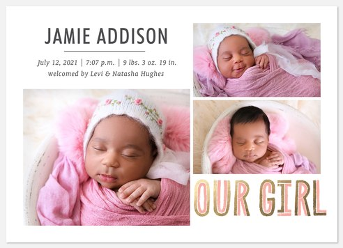 Our Child Baby Birth Announcements