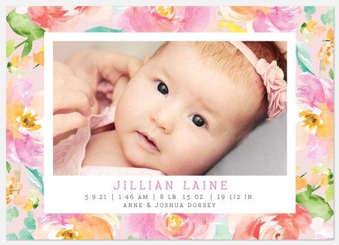 Floral Garden Baby Birth Announcements