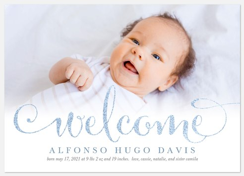 Glittering Welcome Baby Birth Announcements