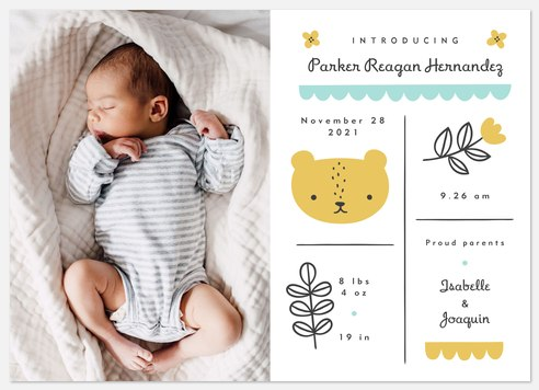Forest Friends Baby Birth Announcements