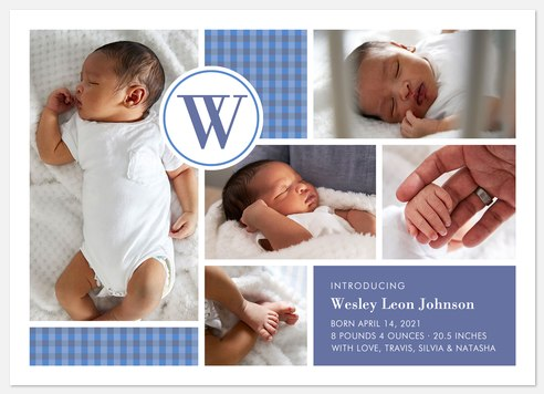 Gingham Grid Baby Birth Announcements