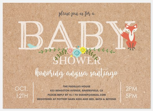 Woodland Craft Baby Shower Invitations