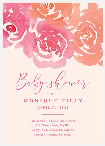Watercolor Bouquet Baby Shower Invitations