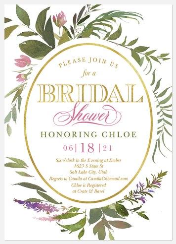 Wreath Flora Bridal Shower Invitations