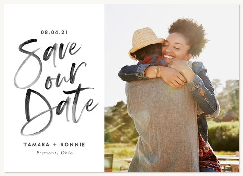Modern Brush Save the Date Cards