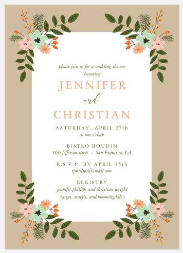 Folksy Floral Bridal Shower Invitations