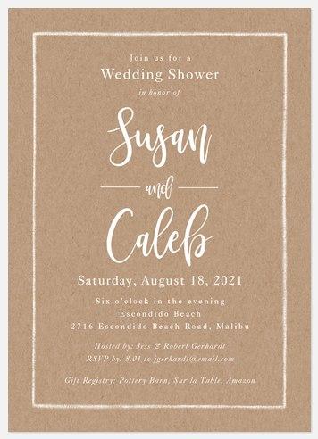 Calligraphic Kraft Bridal Shower Invitations