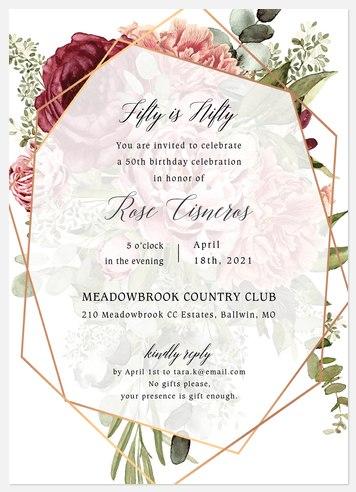 Geo Floral Adult Birthday Invitations