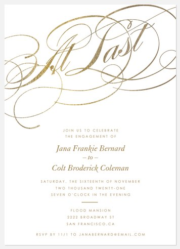 At Last Engagement Party Invitations