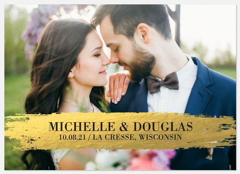 Brushed Metallic Save the Date Photo Cards