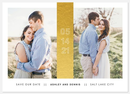Gilded Banner Save the Date Photo Cards