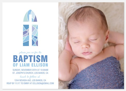 Stained Glass Baptism Christening Invitations