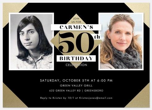 Classic Number Adult Birthday Invitations