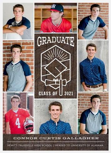 Rustic Grid Graduation Cards