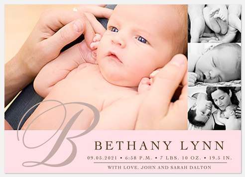 Baby Pink Four Baby Birth Announcements