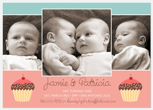 Home Twins Birthday Invitations Cupcakes