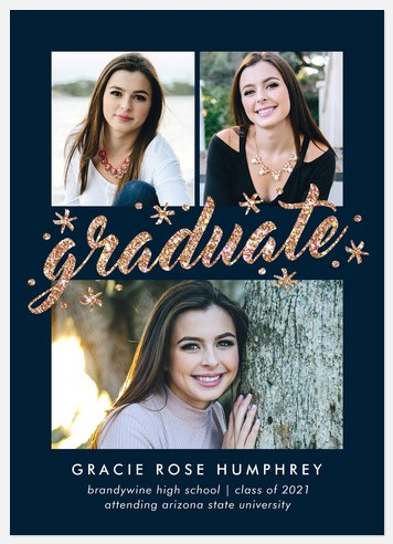 Sparkling Glitter Graduation Cards