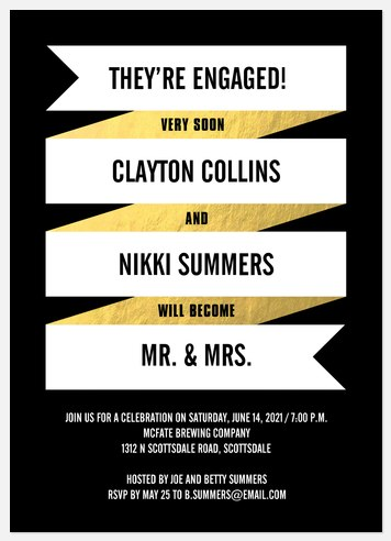 Vintage Banner Engagement Party Invitations
