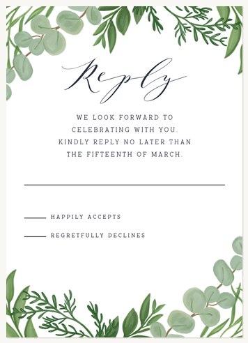 Botanical Sprigs Wedding RSVP Cards