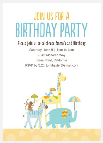 Animal Crackers Kids' Birthday Invitations