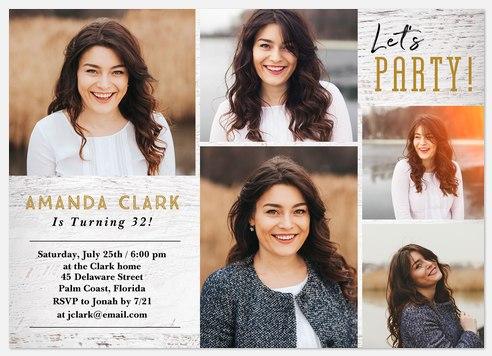 Hometown Chic Adult Birthday Invitations