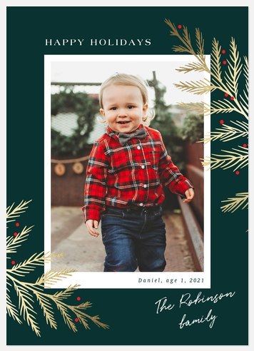 Golden Cypress Holiday Photo Cards