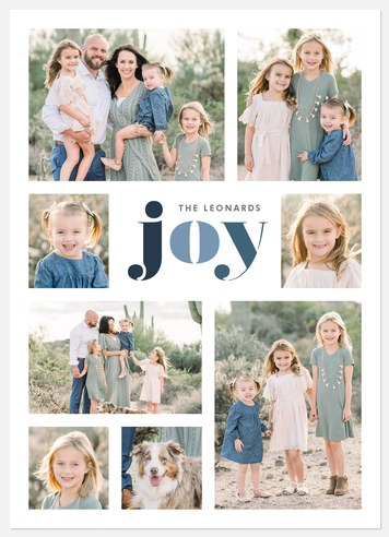 Joy in Blues Holiday Photo Cards