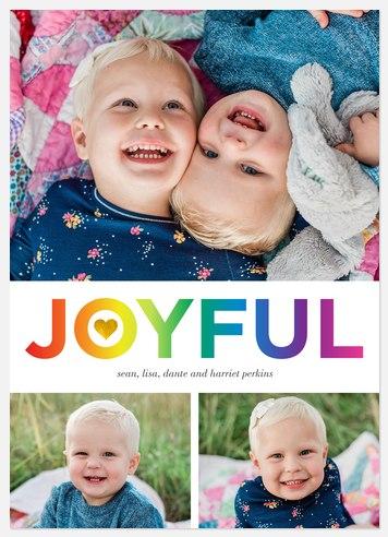 Joyful Rainbow Holiday Photo Cards