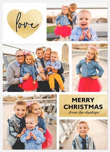 Golden Love Holiday Photo Cards