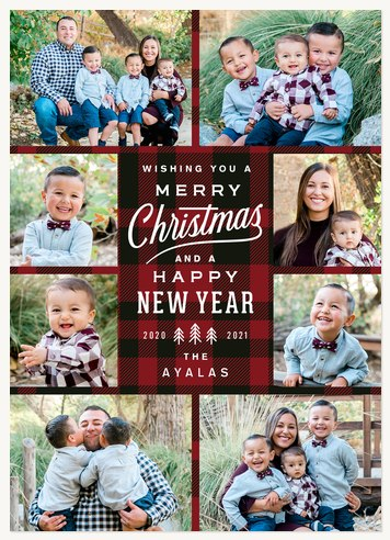 Woodsman Plaid Photo Holiday Cards