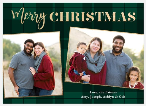 Forest Tartan Holiday Photo Cards