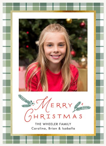 Fir Plaid Personalized Holiday Cards