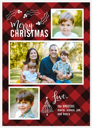 Gingham Greetings Holiday Photo Cards