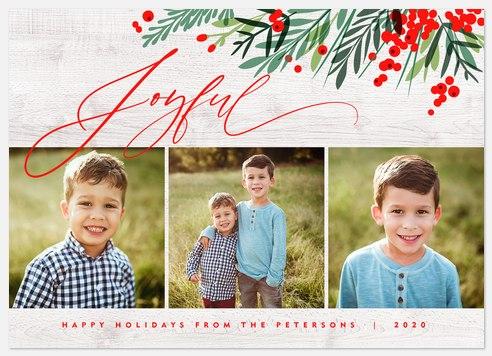 Joyful Holly Holiday Photo Cards
