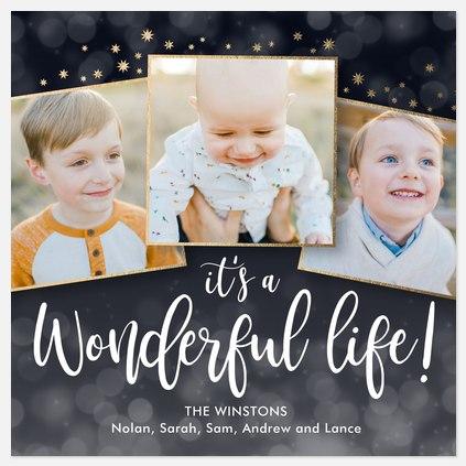 Starlight Bokeh Holiday Photo Cards