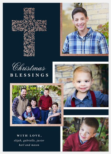 Gilded Cross Holiday Photo Cards