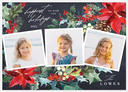 Poinsettia Wreath Holiday Photo Cards