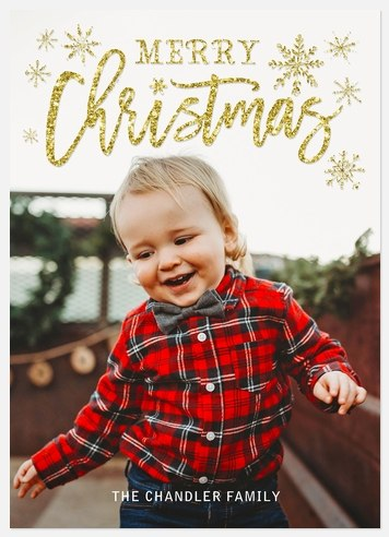 Snowflake Sparkle Holiday Photo Cards