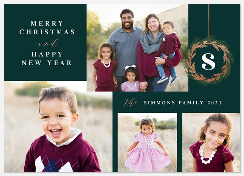 Foiled Wreath Holiday Photo Cards