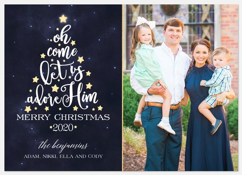 Let Us Adore Him Holiday Photo Cards