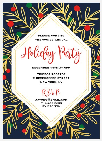 Joyful Foliage Holiday Party Invitations