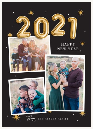 Golden Balloons Personalized Holiday Cards