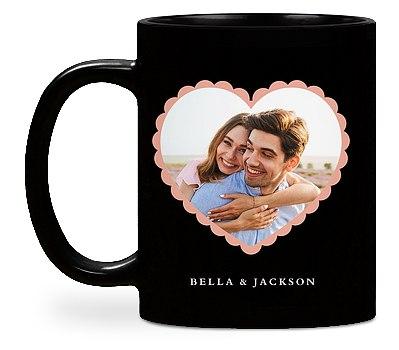 Scalloped Heart Custom Mugs
