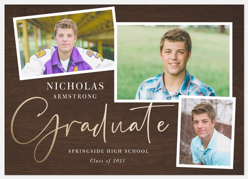 Woodgrain Snapshots Graduation Cards